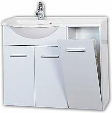 Labi Möbel Badezimmer Badmöbel Waschbecken Waschtisch mit Unterschrank BESI 90 Gäste WC