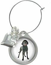 Labrador Hund Bild Design Weinglas Anhänger mit schicker Perlen
