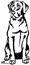 Labrador Retriever Autoaufkleber Fensterfolie Art.Nr.AT0108, Aufkleber amberdog Wohnmobil Wohnwagen (60x40cm, weiß)