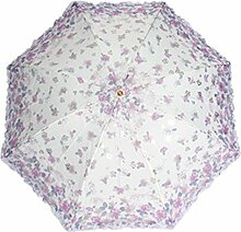 Lac ETrim Anti-Uv Sun Sonnenschirm 3 Faltende Blumenstickerei Regenschirm,Purple-Freesize