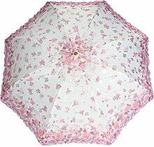 Lac ETrim Anti-Uv Sun Sonnenschirm 3 Faltende Blumenstickerei Regenschirm,Pink-Freesize
