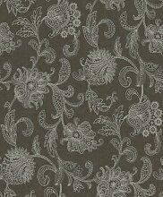 Lace 1350 Vliestapete Blütenranken Stickerei Silber Viole