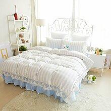 Lace Prinzessin Bett Rock Eine Vierköpfige Familie Mit Bettwäsche Aus Baumwolle Dreiteilige Modelle,Naivebluestripes-1.5