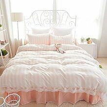 Lace Prinzessin Bett Rock Eine Vierköpfige Familie Mit Bettwäsche Aus Baumwolle Dreiteilige Modelle,Cherrypinkstripes-1.8
