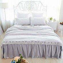 Lace Prinzessin Bett Rock Eine Vierköpfige Familie Mit Bettwäsche Aus Baumwolle Dreiteilige Modelle,Blueandgrayfloral-2.0