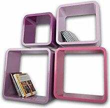 Lackierte Regale Verstärkte MDF Retro Design Cube 4er Set Regal Wandregal Deko Würfel Hängeregal CD DVD Lounge Cuben Z002 (Lila)