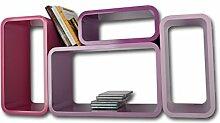Lackierte Regale Verstärkte MDF Retro Design Cube 4er Set Regal Wandregal Deko Würfel Hängeregal CD DVD Lounge Cuben Z001 (Lila)