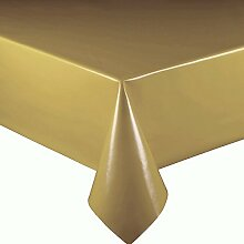 Lacktischdecke Breite 90 cm Farbe & Länge wählbar - Gold Lebensmittelecht - Größe ECKIG 90 x 230 bzw. 230x90 cm Wachstuch abwaschbare Tischdecke