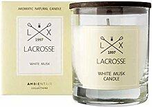 Lacrosse. Mosaikweiße Duftkerze. Kerze mit