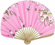 Lady Bambus Rippen faltbares Sommer-Werkzeug Handventilator Dekoration Rosa
