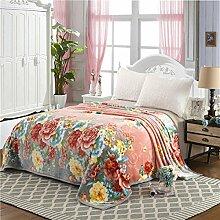 Ländlich Stil Gestreift Blumen/Blumen Polyester dicker Sofadecken-G 180x200cm(71x79inch)
