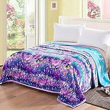 Ländlich Stil Gestreift Blumen/Blumen Polyester dicker Sofadecken-A 180x200cm(71x79inch)