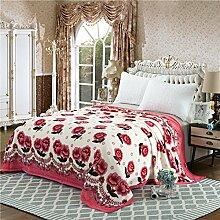 Ländlich Stil Gestreift Blumen/Blumen Polyester dicker Sofadecken-D 150*200cm(59x79inch)