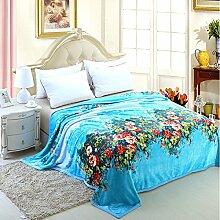 Ländlich Stil Gestreift Blumen/Blumen Polyester Wolldecke-A 180x200cm(71x79inch)