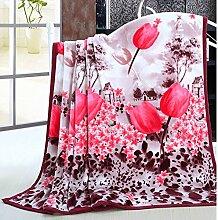 Ländlich Stil Gestreift Blumen/Blumen Polyester Wolldecke-H 150*200cm(59x79inch)