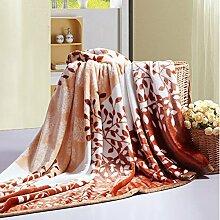 Ländlich Stil Gestreift Blumen/Blumen [verdicken] Doppelschicht Polyester Sofadecken-G 200x230cm(79x91inch)