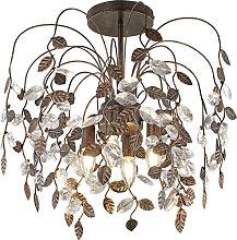 Ländliche Deckenlampe mit Blättern in rostigem