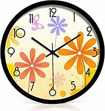 Ländliche Mode Kreative Kunst Einfache Wohnzimmer Schlafzimmer Dekoration Wanduhr Dämpfen Glasuhr ( farbe : Schwarz , größe : 14 Inches )