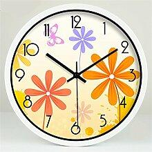 Ländliche Mode Kreative Kunst Einfache Wohnzimmer Schlafzimmer Dekoration Wanduhr Dämpfen Glasuhr ( farbe : Weiß , größe : 14 Inches )
