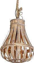 Ländliche Pendelleuchte Holz mit Seil 34cm -