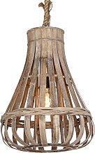 Ländliche Pendelleuchte Holz mit Seil 44cm -