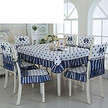 Ländliche Tischdecke,Fabric Chair Sessel Kissen Tisch,Tisch Esstisch Set Europäischen Tisch Tuch-G 110x110cm(43x43inch)