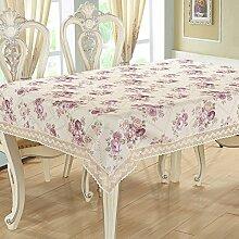 Ländliche Tischdecke,Haus Nähen Tischdecke,Runde Tischdecke Couchtisch Tischdecke Couchtisch Pad Tuch-D Durchmesser200cm(79inch)