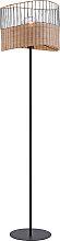 Ländliches Stehlampe schwarz mit Rattan - Treccia