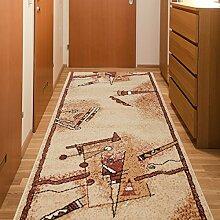 Läufer Teppich Flur Brücke - Muster Abstrakt in Beige - Teppichläufer Klassisch Kollektion 70 x 350 cm