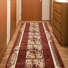 Läufer Teppich Flur Brücke - Muster Griechisch in Braun - Teppichläufer Klassisch Kollektion 70 x 100 cm