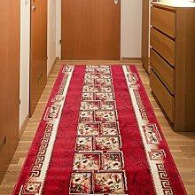 Läufer Teppich Flur Brücke - Muster Griechisch in Rot - Teppichläufer Klassisch Kollektion 100 x 200 cm
