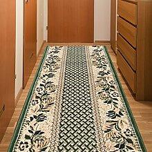 Läufer Teppich Flur Brücke - Muster Natur Karo in Grün - Teppichläufer Klassisch Kollektion 70 x 150 cm