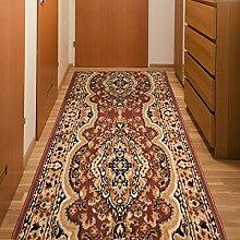 Läufer Teppich Flur Brücke - Muster Ornamente in Braun - Teppichläufer Klassisch Kollektion 90 x 250 cm