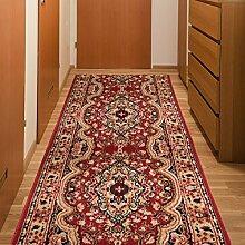 Läufer Teppich Flur Brücke - Muster Ornamente in Rot - Teppichläufer Klassisch Kollektion 70 x 150 cm