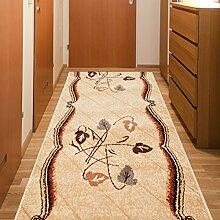 Läufer Teppich Flur Brücke - Muster Spiegel in Beige - Teppichläufer Klassisch Kollektion 80 x 300 cm