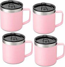 Lafaso Kaffeebecher mit Griff, doppelwandig,