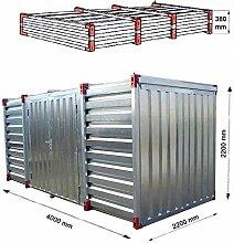 Lagercontainer mit Doppelflügeltür Lange Seite Baucontainer Gartenhaus Blechcontainer Container (4 Meter)