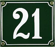 Lagerräumung - Emaille Hausnummer 21 grün/weiß