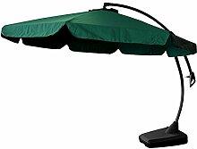 Lagerräumung - Wohaga® Ampelschirm Sonnenschirm Gartenschirm Kurbelschirm + Ständer Ø3,5m Sonnenschutz - Grün, Schwarz