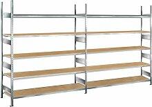 Lagerregal mit Spanplatten, 4 m Breite, 3 m Höhe, 600 mm Tiefe, verzinkt, 5 Ebenen, Fachlast 400 kg