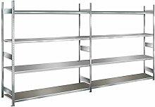 Lagerregal mit Stahlböden, 4 m Breite, 2,5 m Höhe, 400 mm Tiefe, verzinkt, 4 Ebenen, Fachlast 400 kg