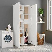 Lagerschrank Hochglanz-Weiß 80 x 35,5 x 180 cm