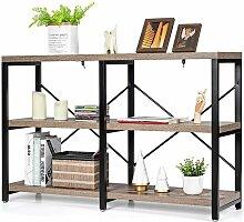 Lagerschrank mit 3 Ebenen, Bücherregal aus Holz &