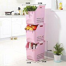 Lagerung Obst und Gemüse Lagerung Korb ( Farbe : Pink )