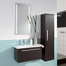 Laguna Manhattan Badmöbel Set 1 - 60 cm mit Flächenspiegel, Mineralguss-Waschtisch und Waschtischunterschrank- B: 606 H: 2000 T: 350