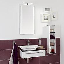 Laguna Platino 2.0 Badmöbel Set 1 - 60 cm mit Flächenspiegel und Qsolid Waschtischplatte- B: 666 H: 2000 T: 410