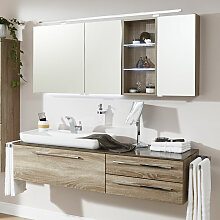 Laguna Platino 2.0 Badmöbel Set - 150 cm - mit Spiegelschrank, Waschtischunterschrank, Aufsatzwaschtisch- B: 1506 H: 2000 T: 495