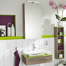Laguna Platino 2.0 Badmöbel Set 2 - 60 cm mit Spiegelschrank und Qsolid Waschtischplatte- B: 666 H: 2000 T: 410