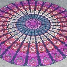 LAILAIGE Lila Schal Kreis Badetuch Doppelkissen-Yoga-Sonnenschutz,2-150*150CM