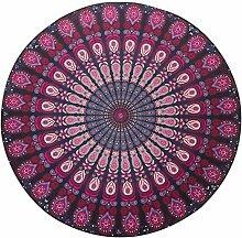 LAILAIGE Lila Schal Kreis Badetuch Doppelkissen-Yoga-Sonnenschutz,1-150*150CM